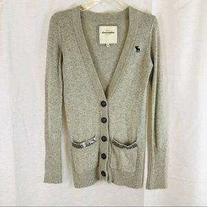 ABERCROMBIE & FITCH Oatmeal Cardigan L